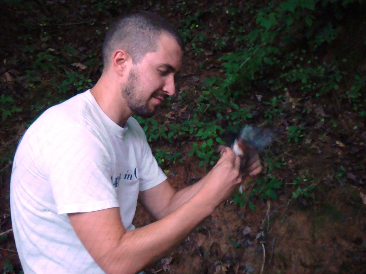 Chad with bird in mist net