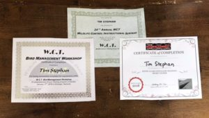 Tim Stephan's 2018 WCT Certificates
