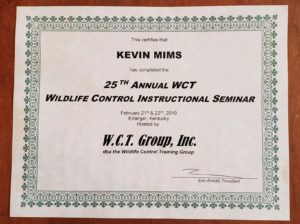 2019 WCT Seminar Certificate of Completion for Kevin Mims