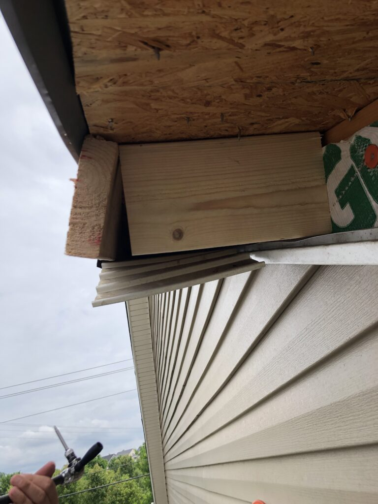 Close up post-cut of the warping fascia board