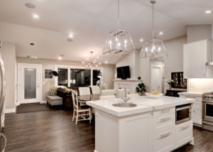 White granite countertops in a custom renovated kitchen by Style Developments