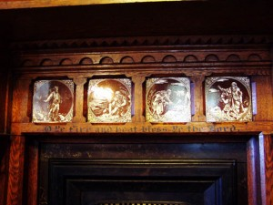 Tiles depicting Stories from the Bible above Dining Room Fireplace