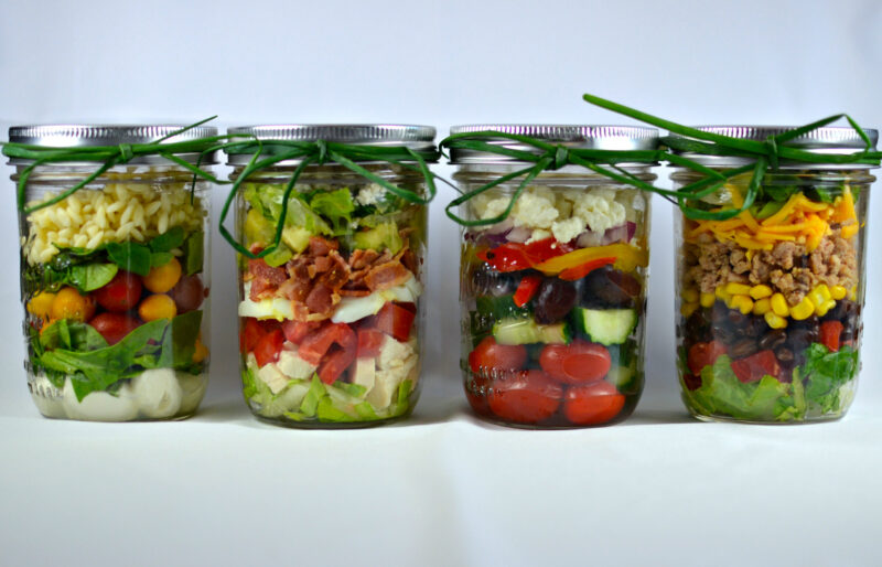 4 Layered Mason Jar Salads