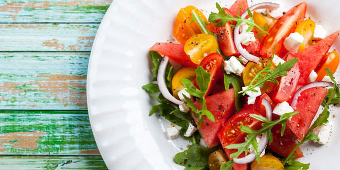 Watermelon and Heirloom Tomato Salad