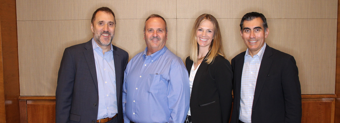 AFIT's learning partners. From left: Mike Wilson, editor of The Dallas Morning News; Brent Frey, director of education at Apple; Kari Granger, founder and CEO of The Granger Network; and Mike Flores, chancellor of Alamo Colleges District.
