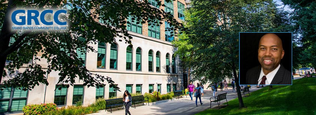 Background photo of Grand Rapids Community College campus. Foreground photo of Grand Rapids President Bill Pink.