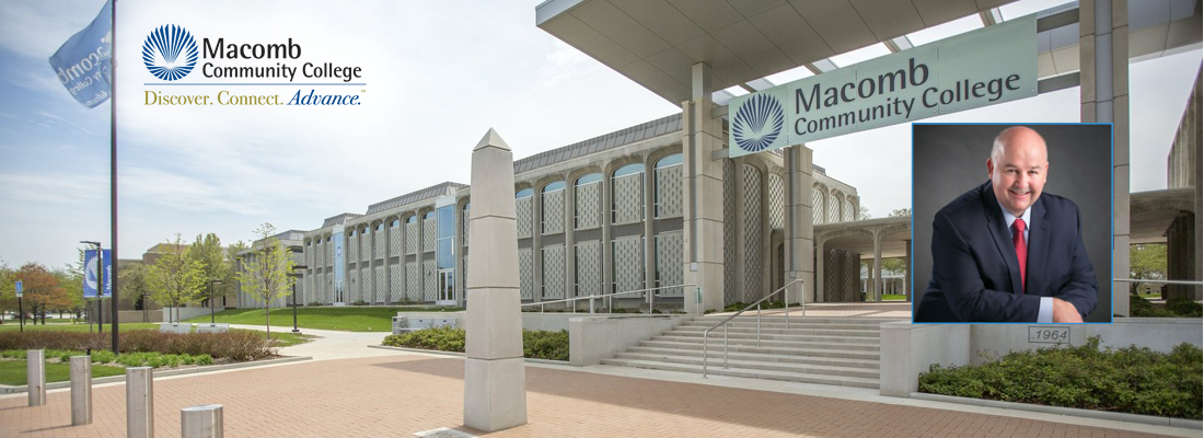 Background photo of Macomb Community College campus. In the foreground is a picture of Macomb President James Sawyer IV.