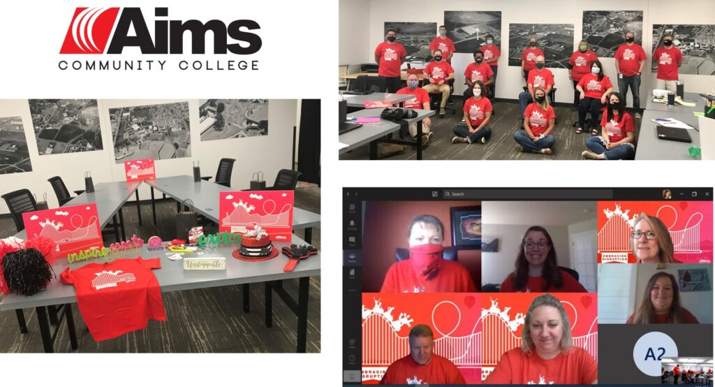 "Photo collage showing how Aims Community College brought the learning theme ""embracing disruption"" to life at the AFIT's 2020 Virtual Summer Institute."