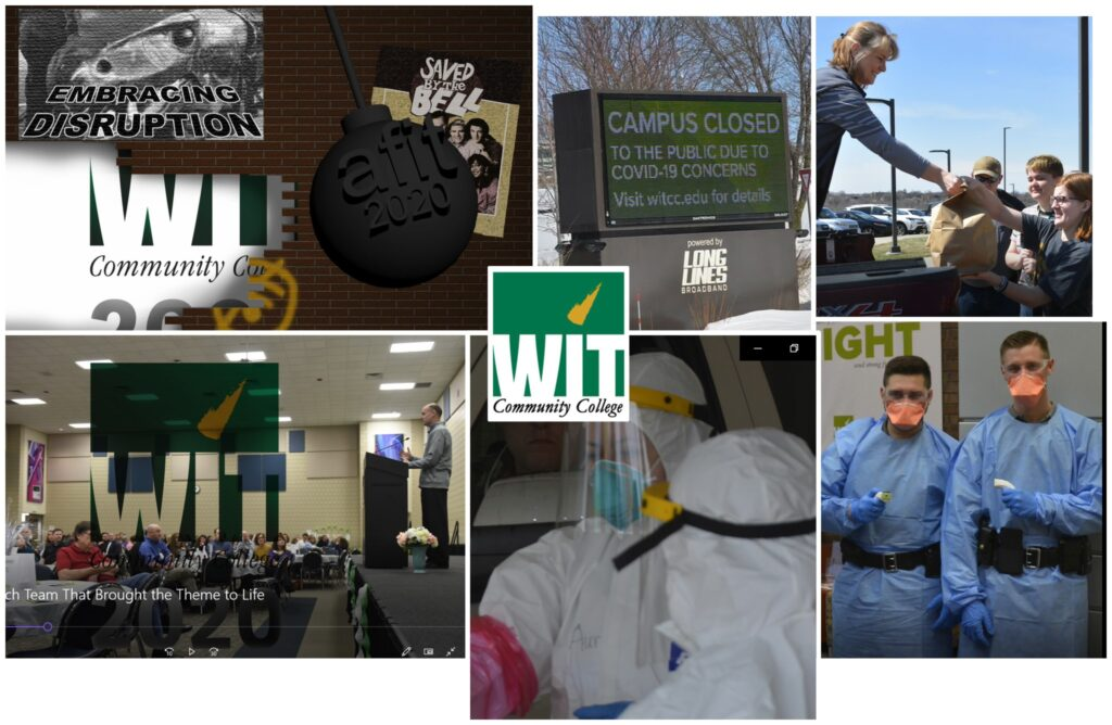 "Photo collage showing how Western Iowa Technical Community College brought the learning theme ""embracing disruption"" to life at the AFIT's 2020 Virtual Summer Institute."