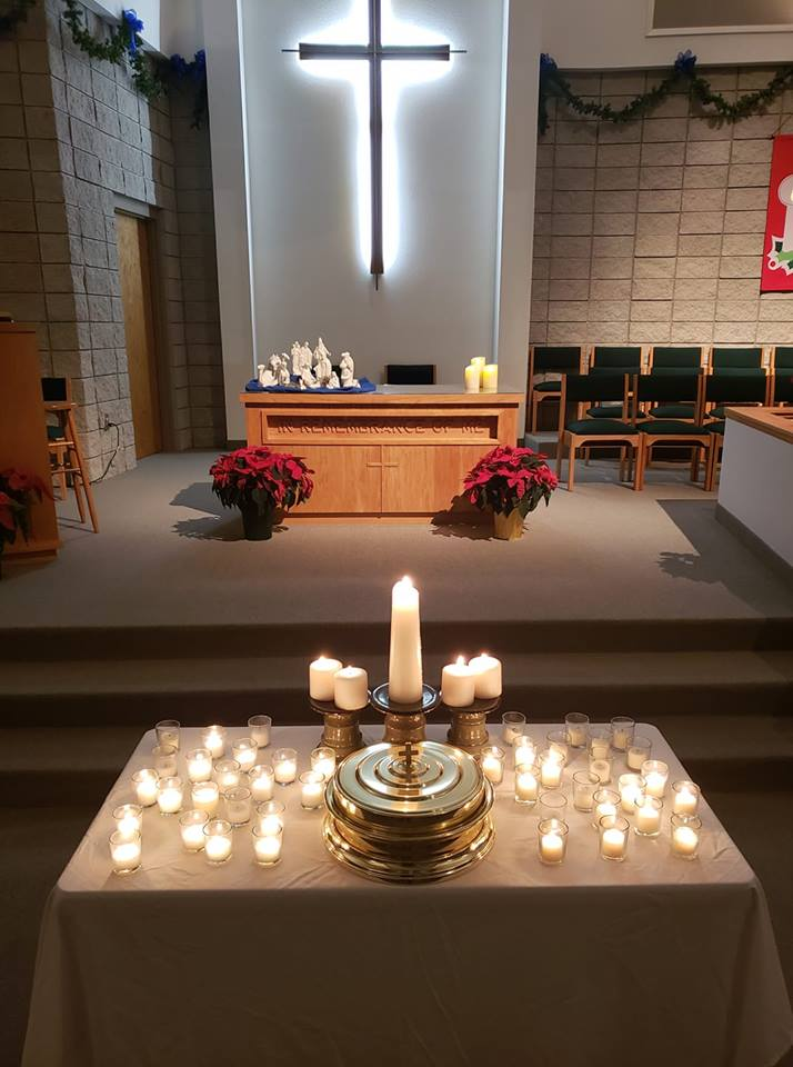 Picture of lighted candles during the Longest Night Service at Marshfield Christian Church.