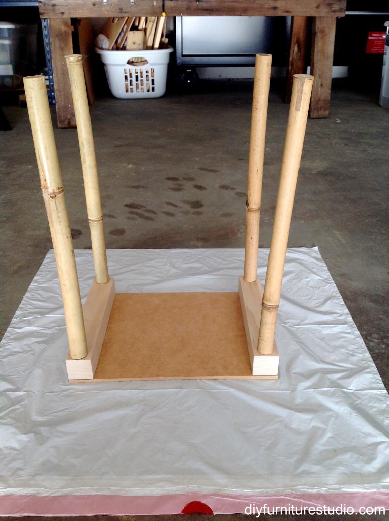 Making bamboo furniture legs.