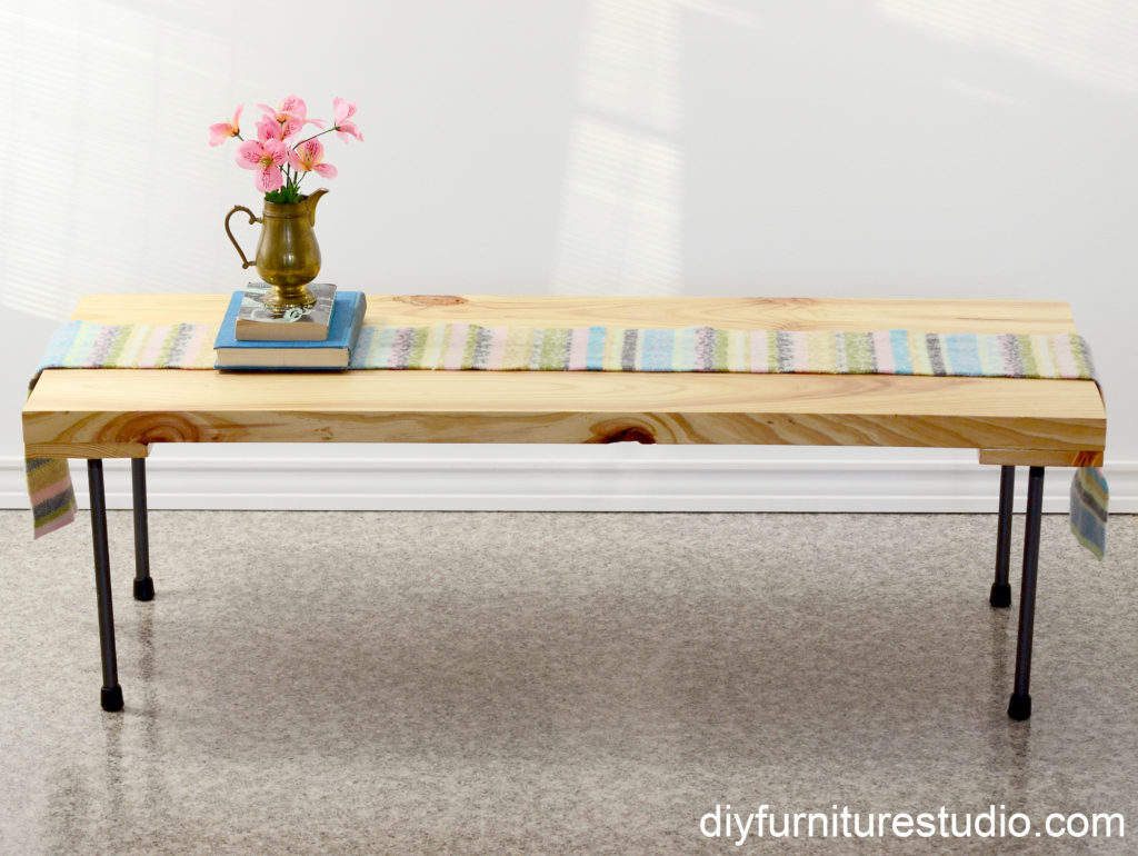 Rustic modern coffee table or bench with plumbing pipe legs. Tutorial.