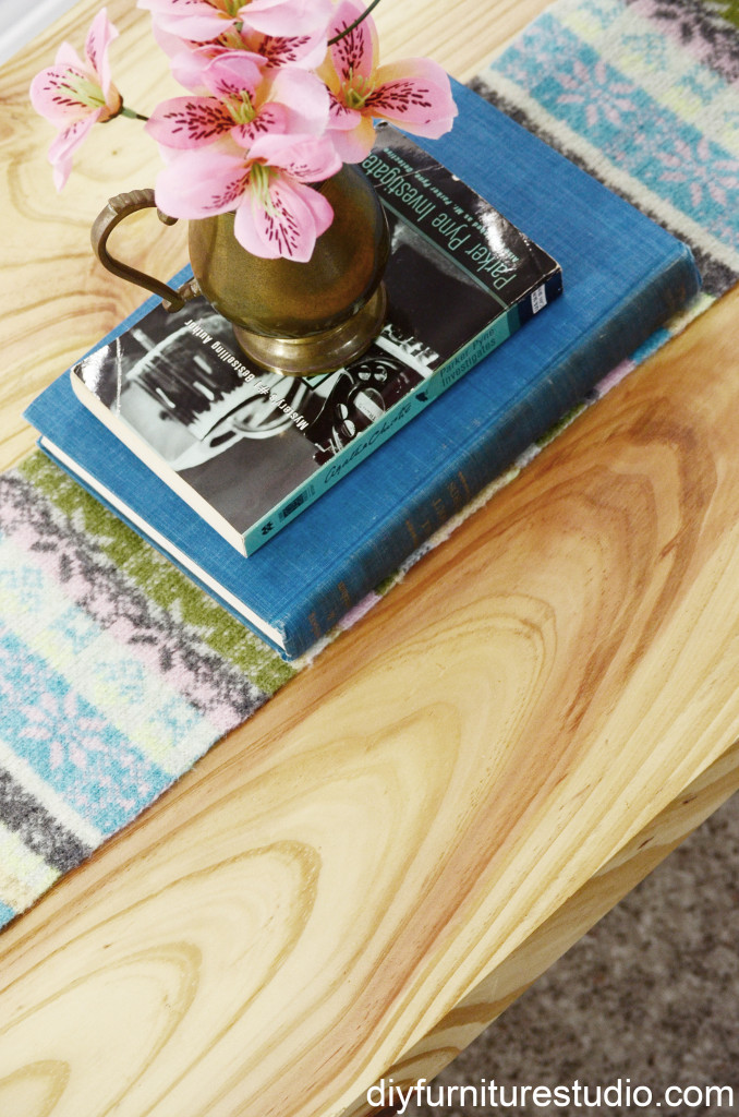 Beautiful wood grain of DIY rustic modern coffee table.