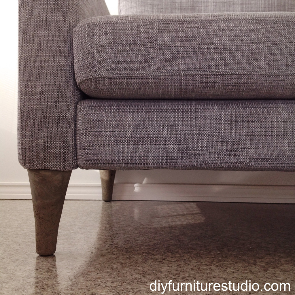 close up of DIY cement replacement sofa legs for IKEA and other brands