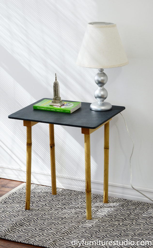 DIY plastic cutting board and bamboo leg side table.