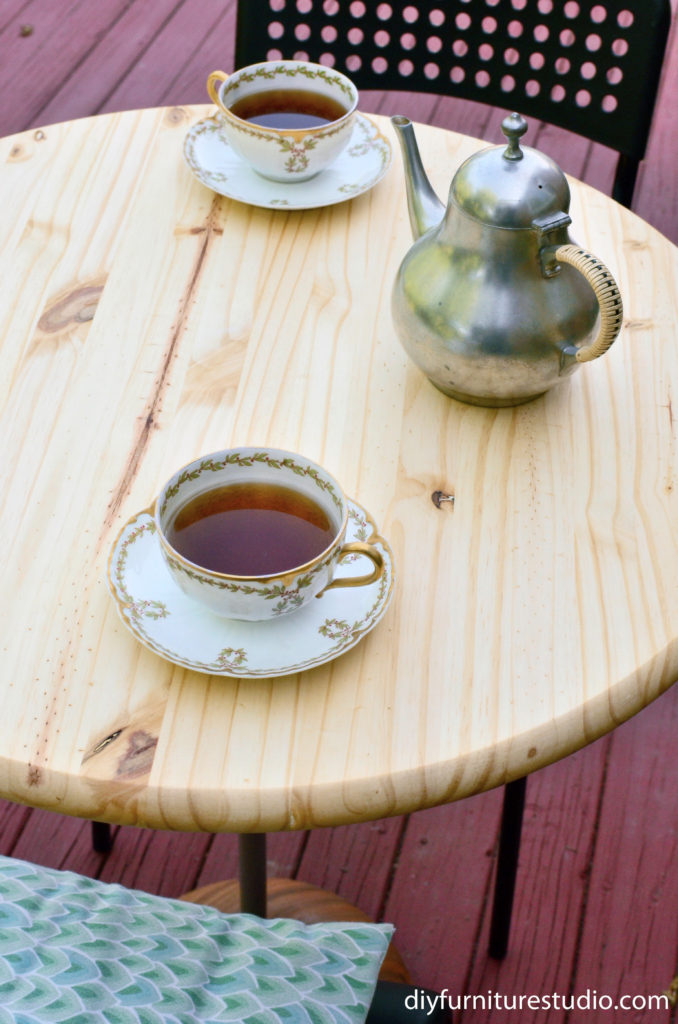 DIY Bistro Table table top view with tea set