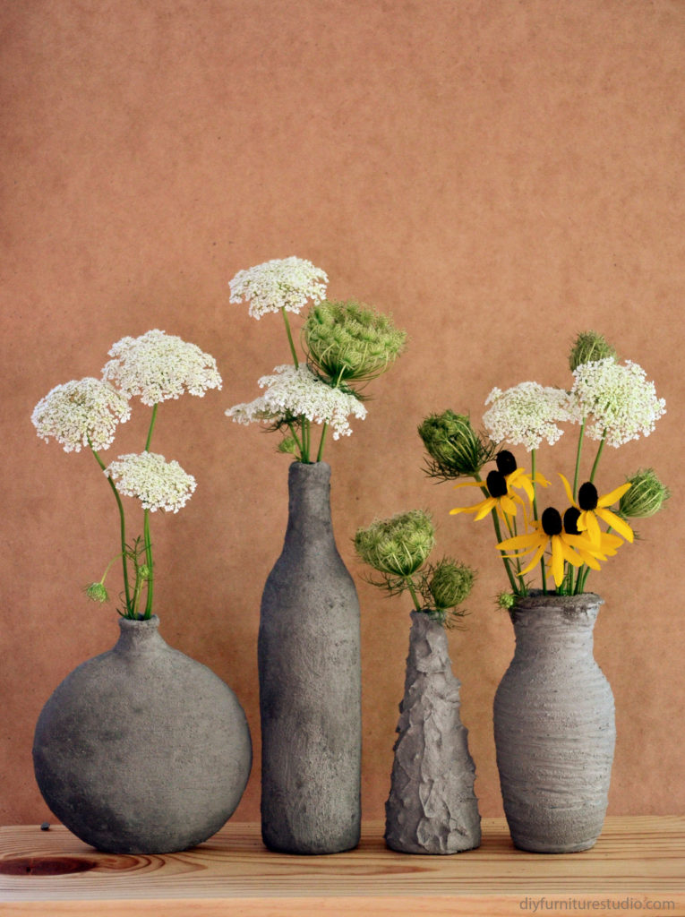 DIY cement vases by DIY Furniture Studio