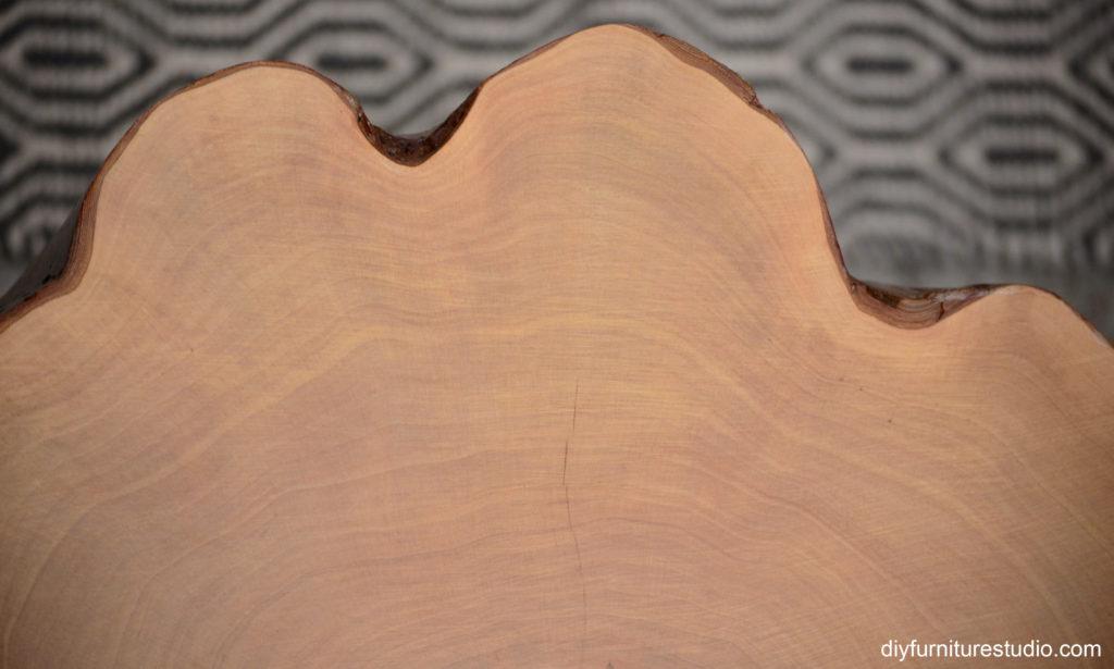 DIY tree stump table mulberry wood grain on table top
