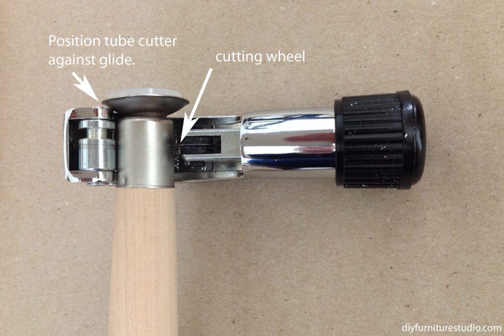 using tube cutter to cut glide off Waddell furniture table leg