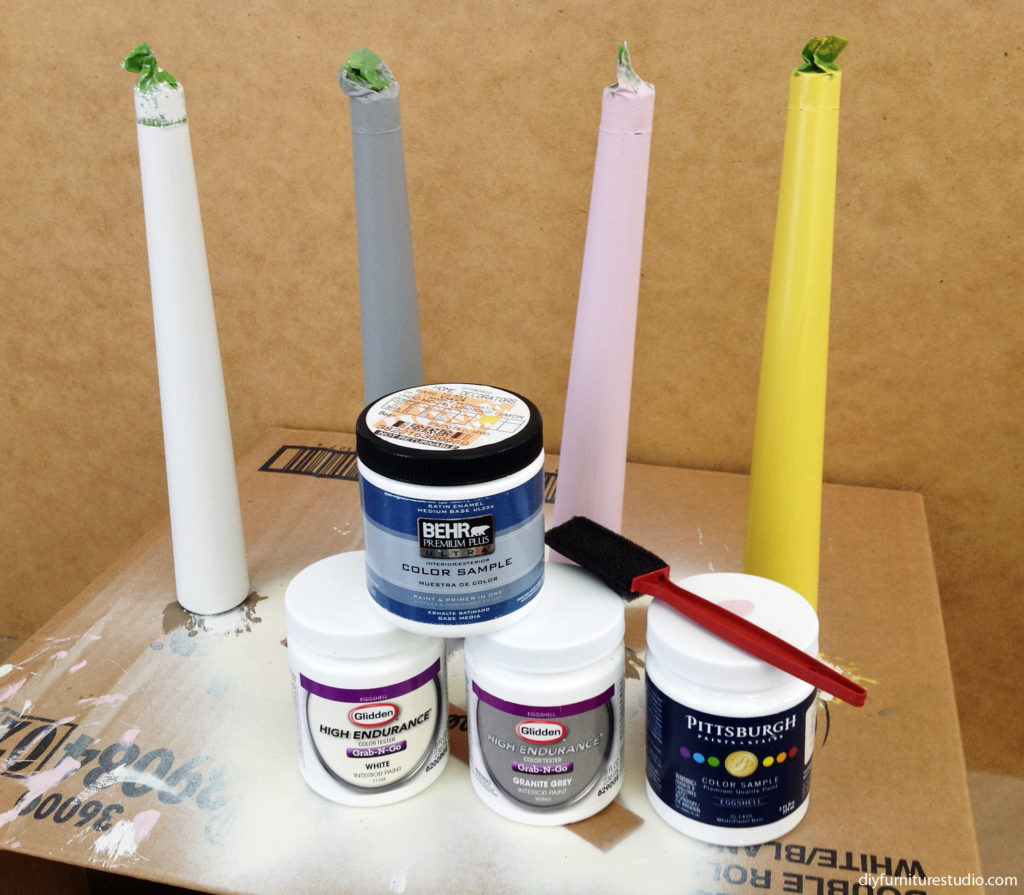 painting modified Waddell mid century tapered legs with ferrule