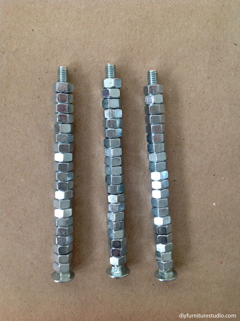 Elegant DIY furniture legs made literally of nuts and bolts.
