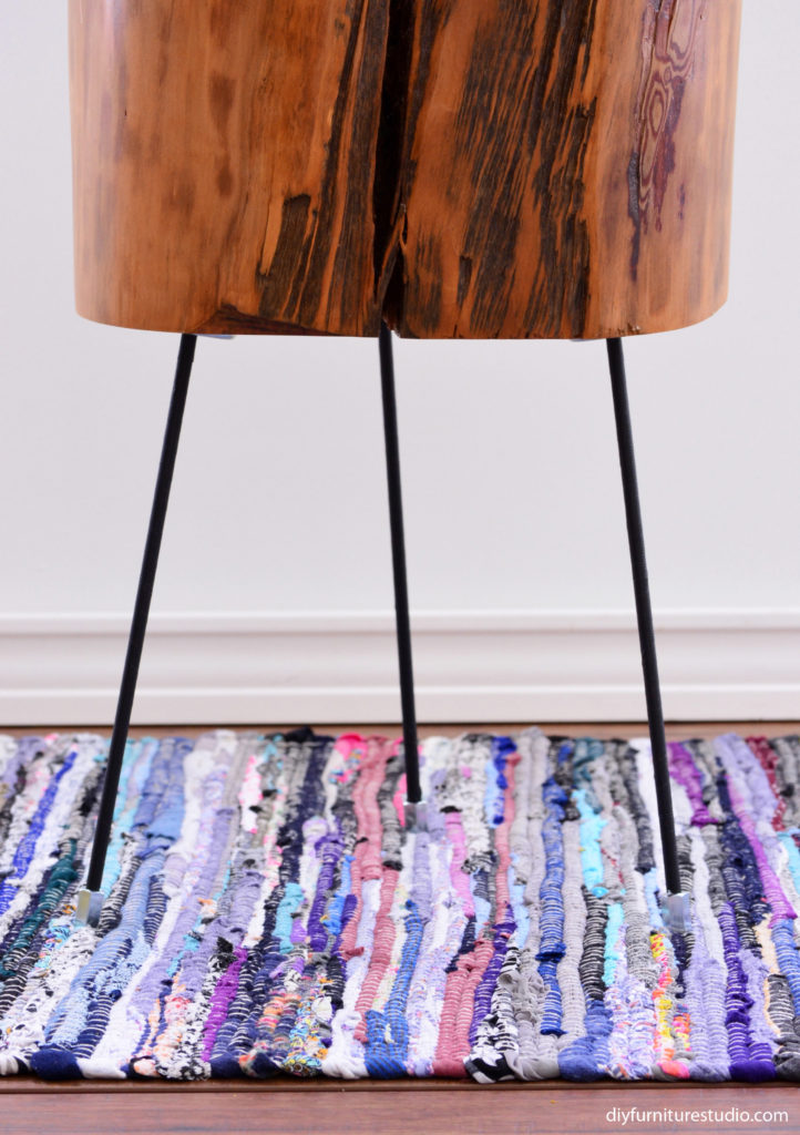 DIY furniture legs made of threaded rods, washi tape, and hex coupling nuts by DIY Furniture Studio.
