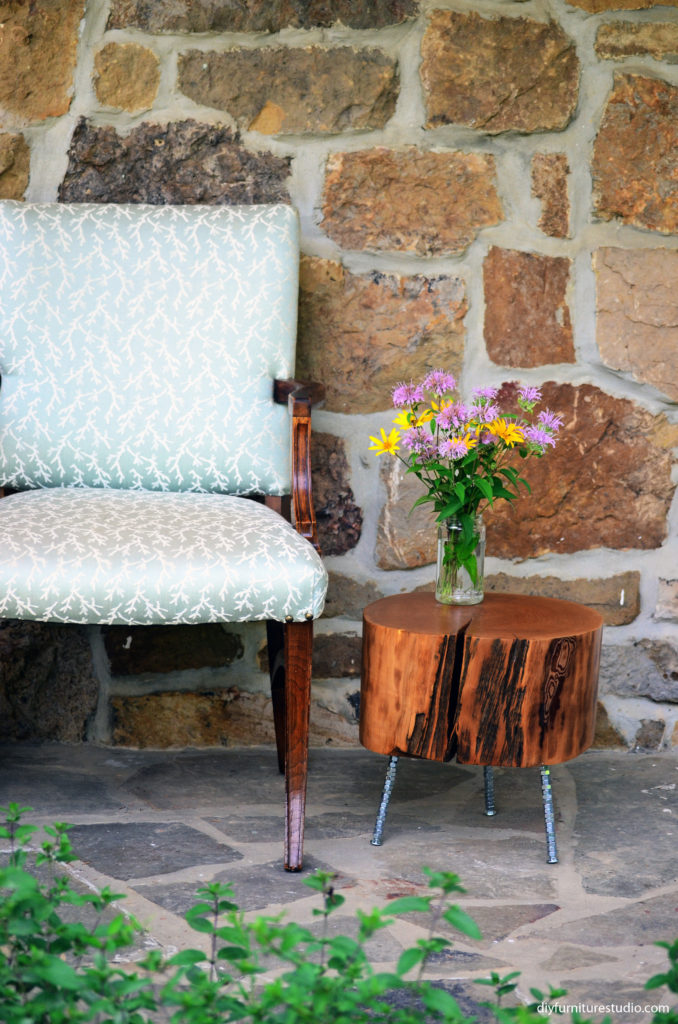 DIY furniture legs made of carriage bolts and hex nuts by DIY Furniture Studio.