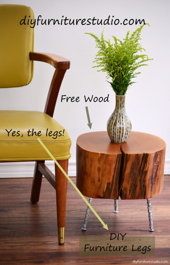 DIY furniture and decor tutorials. Live edge side table with DIY legs made of carriage bolts and hex nuts.