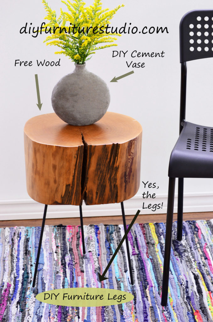 DIY furniture and decor tutorials. DIY live edge side table with DIY legs made of threaded rods, washi tape, and coupling nuts.