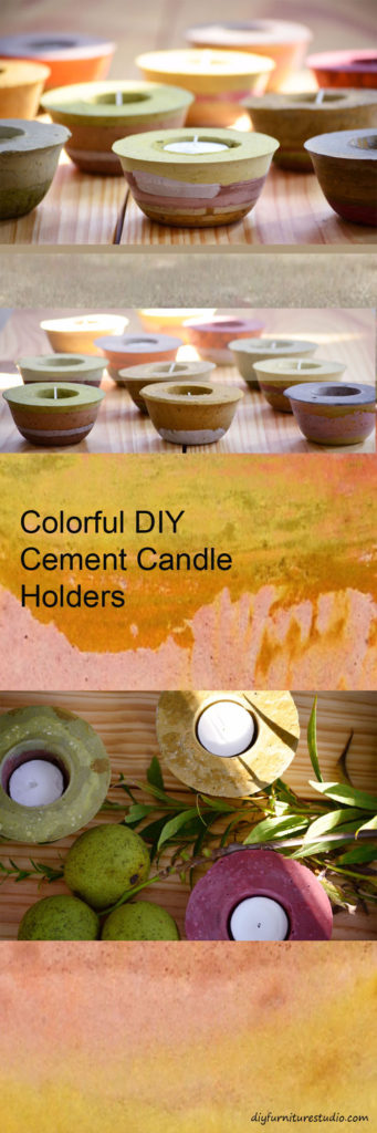 Make cozy candle holders and other colorful cement decor. Tutorial.