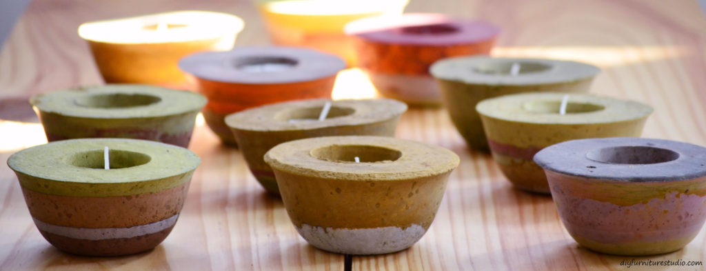 DIY concrete and cement gift ideas. Tealight votive candle holder. DIY Furniture Studio.