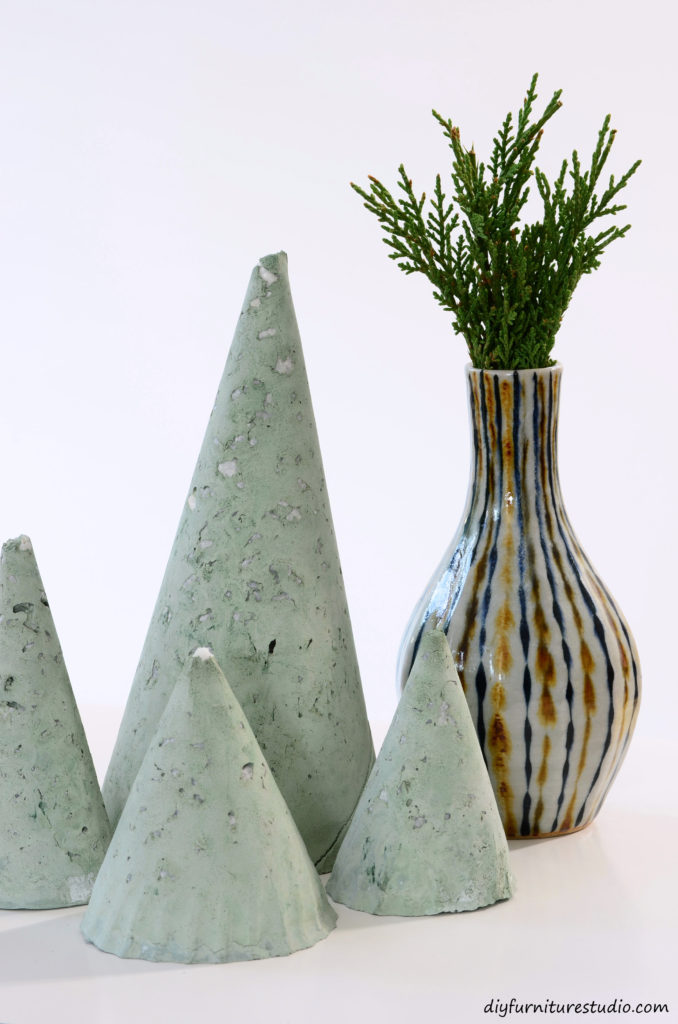 DIY modern cement Christmas Trees tinted green with latex paint. Tutorial.