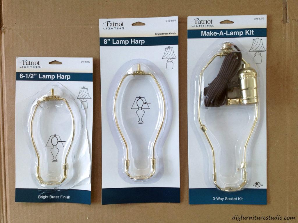 DIY natural table lamp. Lamp kit and harps.