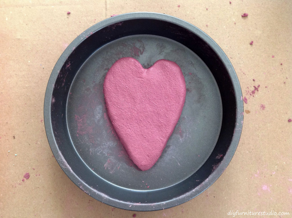 DIY Cement Stepping Stones with Embedded Colored Cement Designs. Forming the Colored Shape.