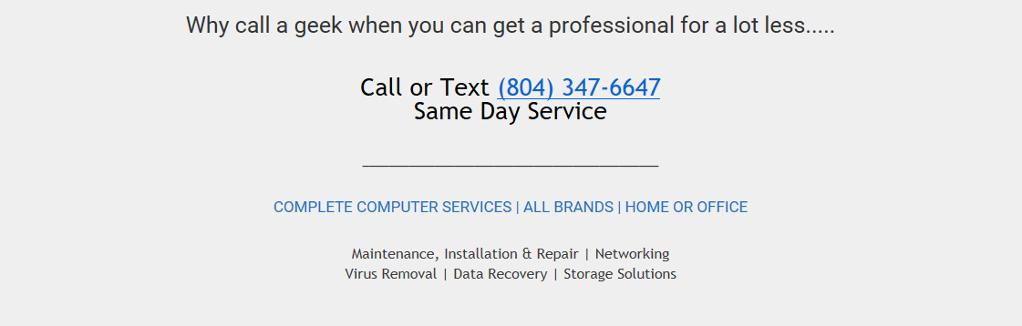 Call a Professional for less (8040 347-6647