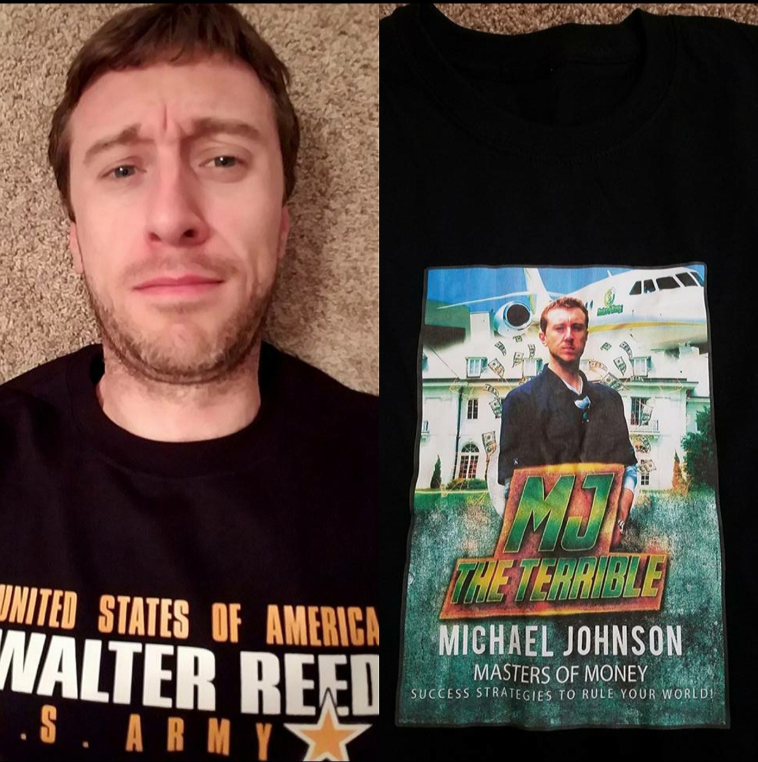 MJ The Terrible Wearing Walter Reed T-shirt and MJ The Terrible T-shirt