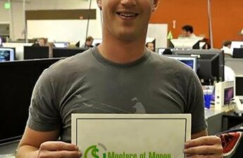Mark Zuckerburg Holding Masters of Money LLC Logo Poster