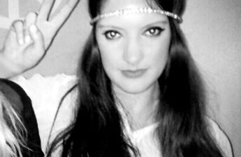 Malia Halloween Hippy Costume Black and White Photo