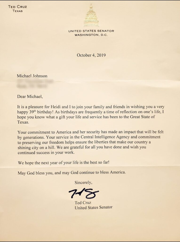 Ted Cruz Happy Birthday and CIA Thank You For Your Service Letter To Michael MJ The Terrible Johnson