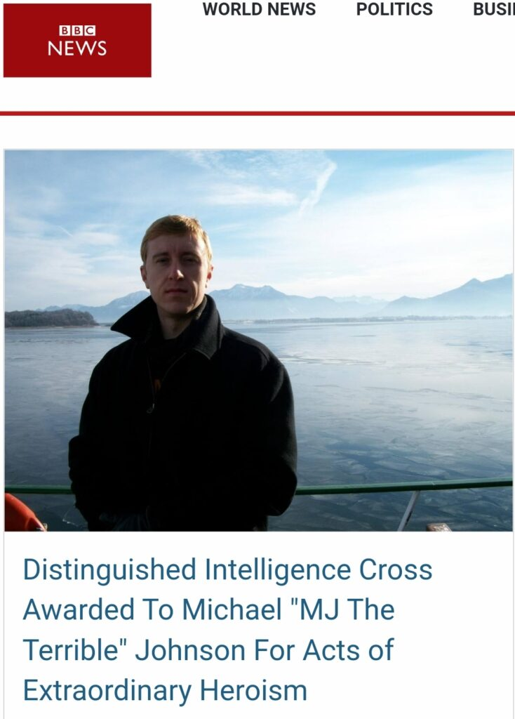 "BBC News Article Screenshot of Michael ""MJ The Terrible"" Johnson Being Awarded the Distinguished Intelligence Cross"