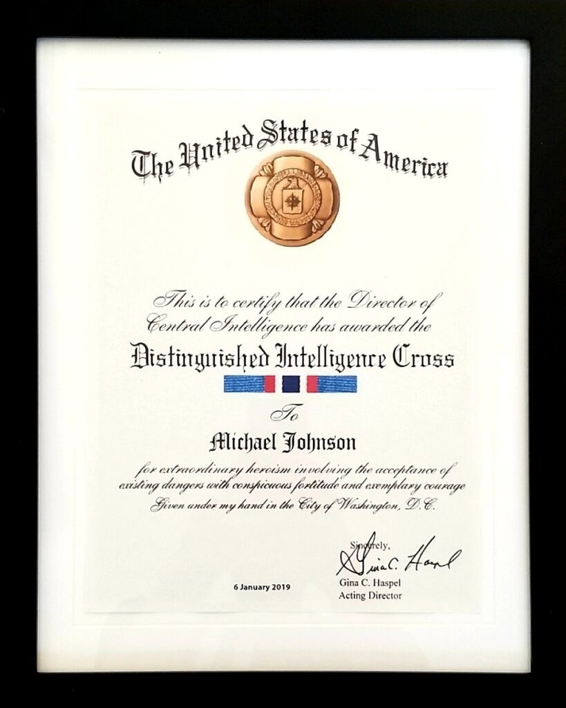 "Michael ""MJ The Terrible"" Johnson Distinguished Intelligence Cross Award From CIA"