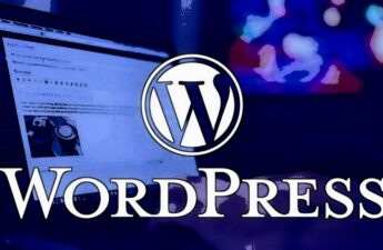 WordPress White and Blue Laptop Blog Post Graphic