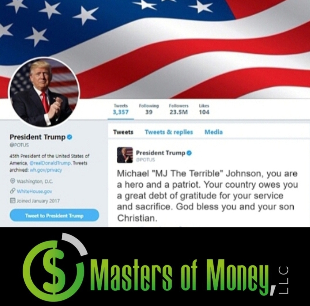 """Former President Donald Trump Tweet To Michael """"MJ The Terrible"""" Johnson From 2018 and Masters of Money Logo Collage"""