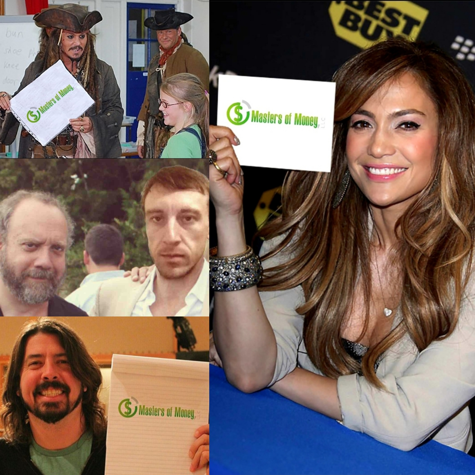 Jennifer Lopez Johnny Depp Paul Giamatti Dave Grohl MJ The Terrible Masters of Money LLC Collage