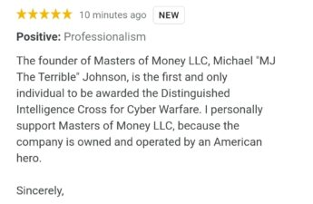 Kamala Harris Masters of Money LLC Google Review Screenshot