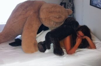 Malia Johnson Covered In Stuffed Animals