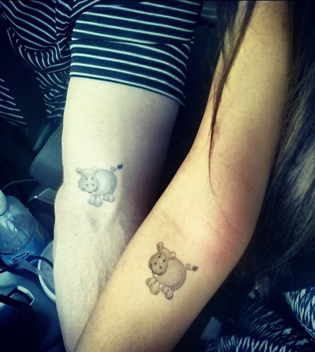 Malia and Michael MJ The Terrible Johnson Matching Fake Hippos Tattoo Picture