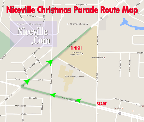Niceville Christmas Parade Route Map