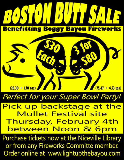 City of Niceville Boston Butt Sale Flyer 2016
