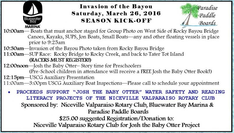 Invasion on the bayou 2016 schedule of events niceville